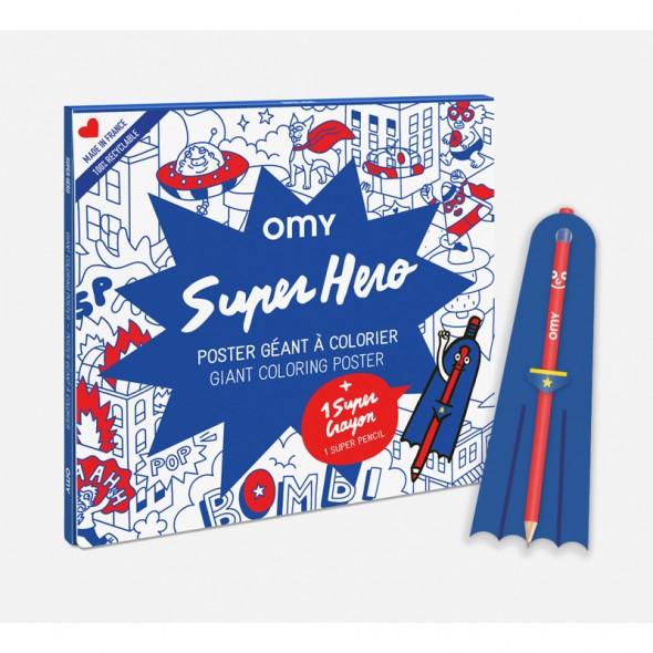 Poster géant à colorier - Super Héro