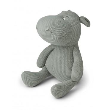Hippopotame tricotée Bo - Dove blue