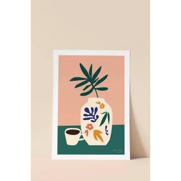 Affiche - Fleurs et café