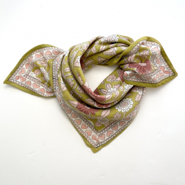 "Foulard Manika ""Coeur"" - Curry"