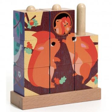 Puzzle en bois avec 9 cubes - Puzz-up Forest