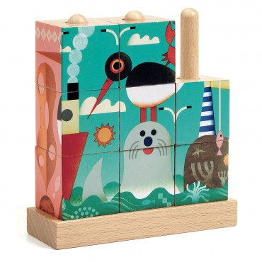 Puzzle verticale en bois - Animaux marins