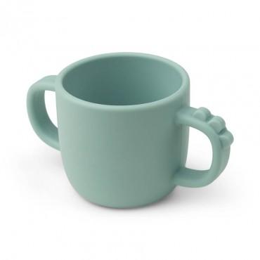 Tasse avec poignées en silicone Peekaboo - Croco, bleu