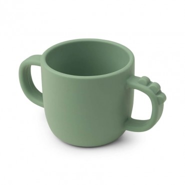 Tasse avec poignées en silicone Peekaboo - Croco, vert