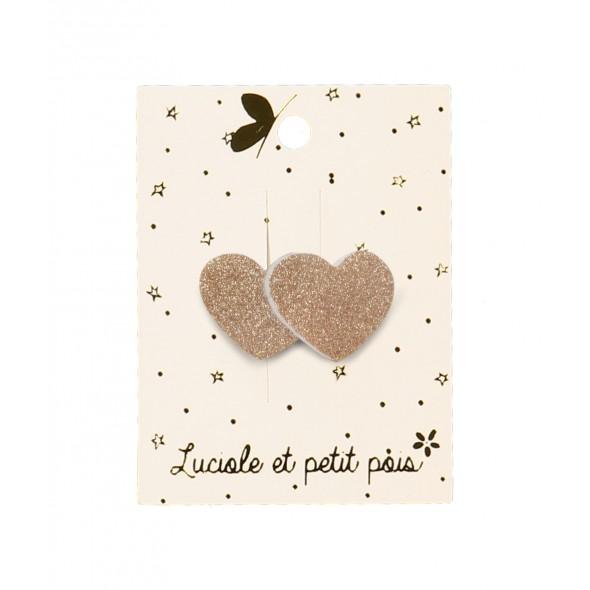 Barrette mini - Cœurs rose