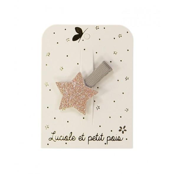 Barrette mini - Etoile glitter (rose)