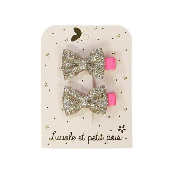 Paire de mini barrettes - Papillons glitter (doré)