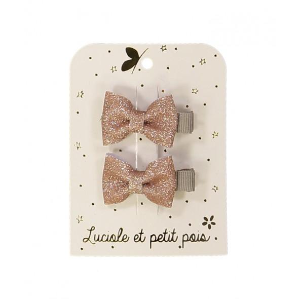 Paire de barrettes mini - Papillons glitter (rose)