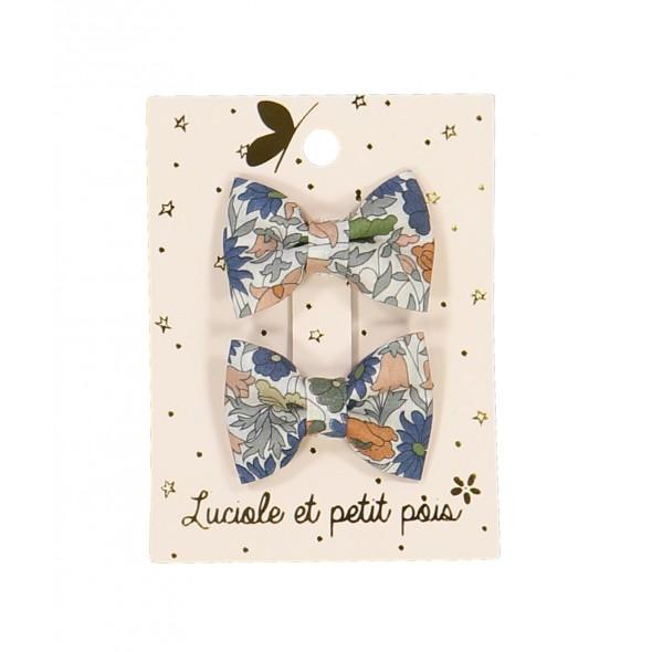 Paire de barrettes mini - Papillons (liberty poppy)