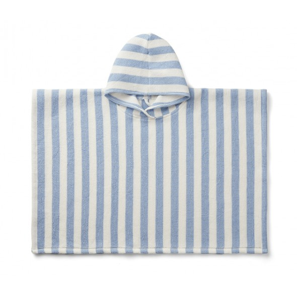 Poncho de plage Paco - Sky blue / crème