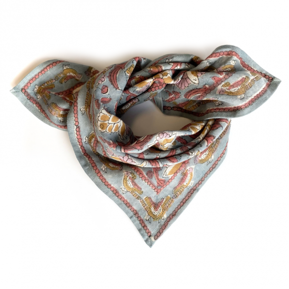 "Petit foulard Manika ""Bird"" - Nuage"