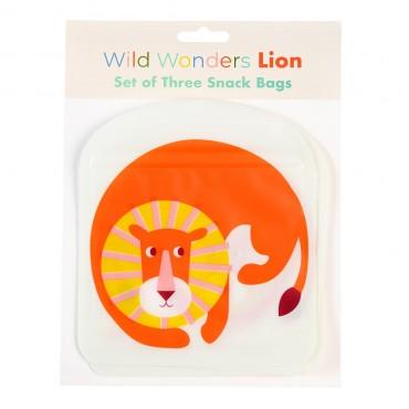 Set de 3 sacs à goûter réutilisables - Lion
