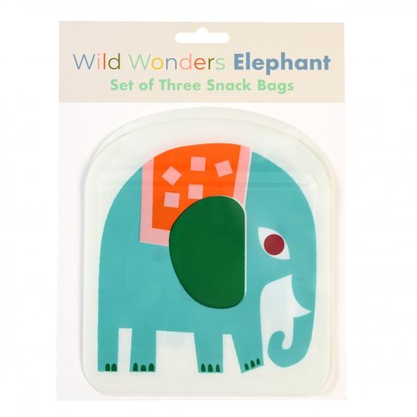 Set de 3 sacs à goûter réutilisables - Eléphant