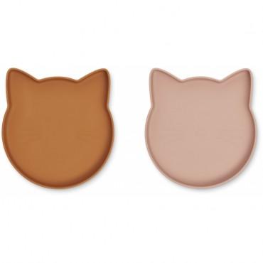 Set de 2 assiettes en silicone Marty - Cat (moutarde / dark rose)