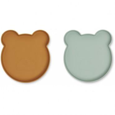 Set de 2 assiettes en silicone Marty - Bear (moutarde / peppermint)