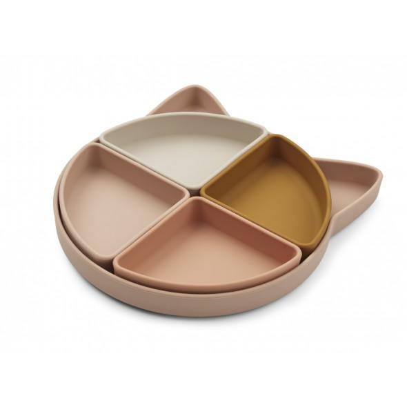 Assiette compartimentée Arne en silicone - Cat rose