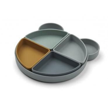 Assiette compartimentée en silicone Arne - Bear blue fog