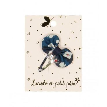 Barrette mini - Pétale (liberty mitsi indigo)