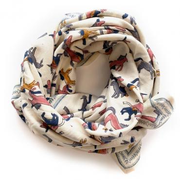 "Grand foulard Latika ""Licorne"" - Sahara"