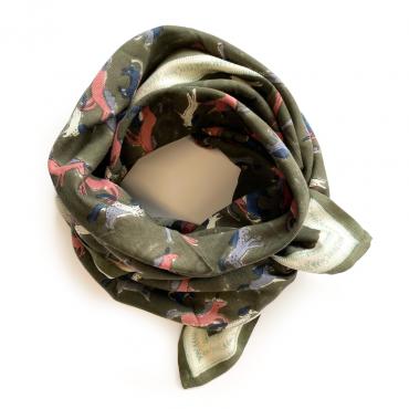 """Grand foulard Latika """"Licorne"""" - Kaki"""