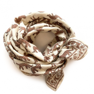 "Grand foulard Latika ""Bengale"" - Latte"