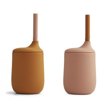 Set de 2 gobelets avec paille Ellis - Dark rose / moutarde