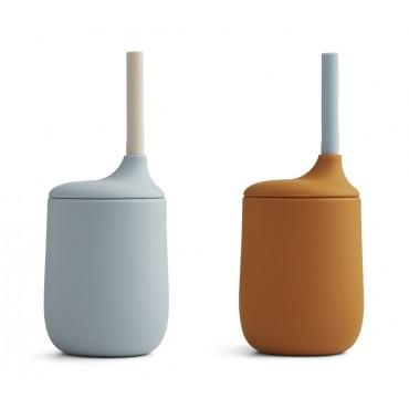 Set de 2 gobelets avec paille Ellis - Sea blue / moutarde