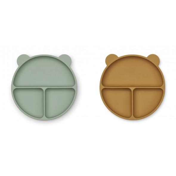Set de 2 assiettes en silicone compartimentées Merrick - Peppermint / golden caramel