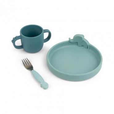 Set de repas en silicone Peekaboo - Deer friends (blue)