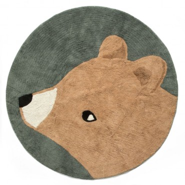 Tapis en coton Woody l'ours, midnight green