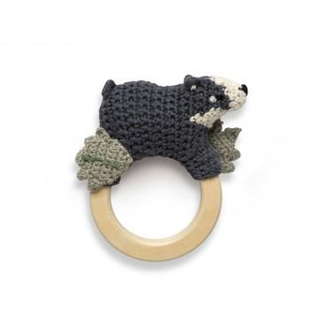 Anneau hochet en crochet - Shadow the badger