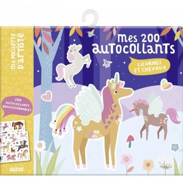200 auto-collants - Licornes et chevaux