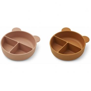 Set de 2 bols en silicone compartimentées Connie - Dark rose / moutarde