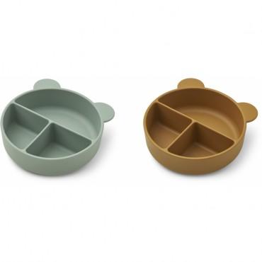 Set de 2 bols en silicone compartimentés Connie - Peppermint / golden caramel