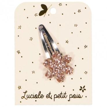 Barrette Fleur - Glitter rose