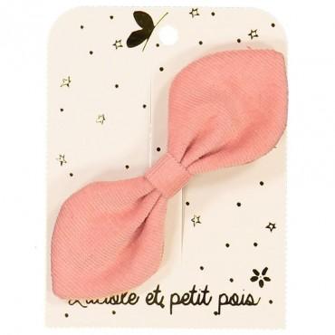 Barrette noeud lapin - Velours côtelé rose