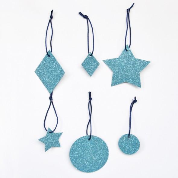 6 Pampilles Géométriques Glitter - Bleu