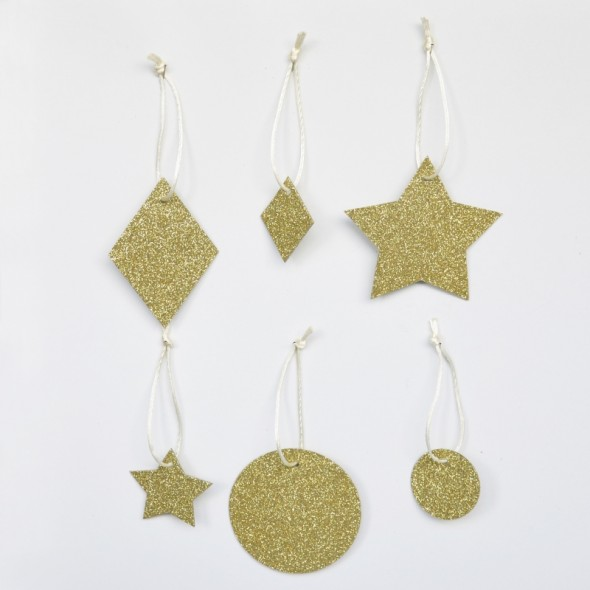 6 Pampilles Géométriques Glitter - Or