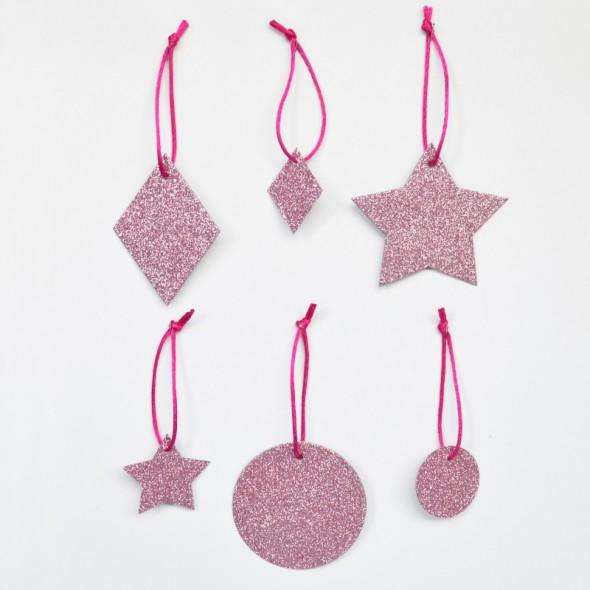 6 Pampilles Géométriques Glitter - Rose