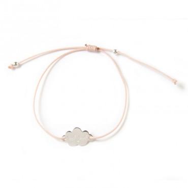Bracelet Cloud en argent - Rose poudre