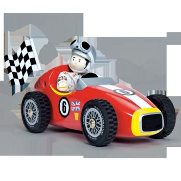 Pilote de course rouge