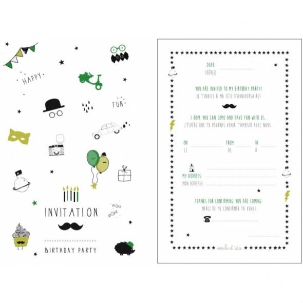 Carte d'invitation Anniversaire - Garçon - EMILE & IDA - Perlin Paon Paon