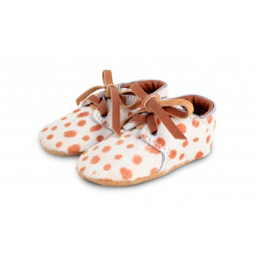 Chaussons Safari Exclusive - Dalmatien Cognac & Blanc