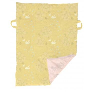 Tapis / couverture de jeu - Cygne moutarde / rose