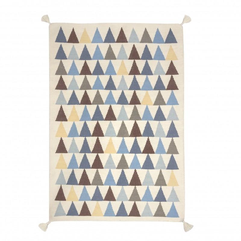 tapis kilim triangles bleu art for kids perlin paon paon. Black Bedroom Furniture Sets. Home Design Ideas