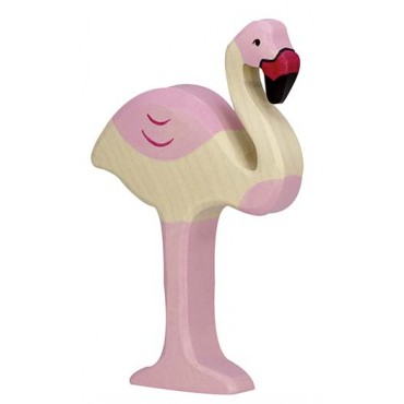 Animal en bois - Flamant rose