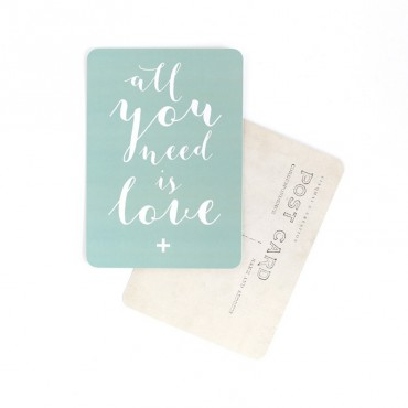 Carte All you need is love (Mila) - Vert menthe