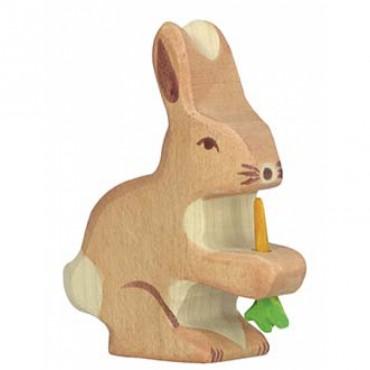 Animal en bois - Petit Lapin avec Carotte