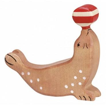 Animal en bois - Otarie avec balle
