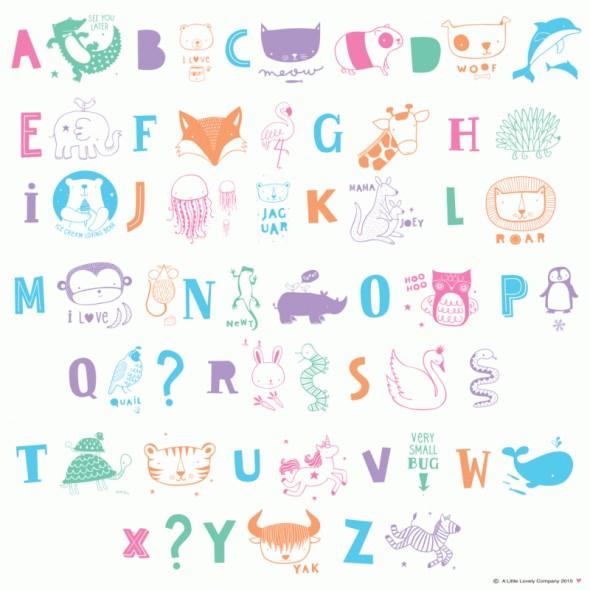 Set de lettres pour Light Box - ABC Pastel